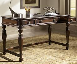 writing desk with drawers writing desk with three drawers in cognac finish by liberty