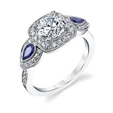 sapphire accent engagement rings halo engagement ring with blue sapphire accents