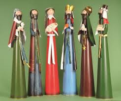 6 modern nativity set stylized figures tin 6 x 30
