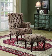 Accent Chair With Ottoman Coaster Style Button Tufted Wing Accent