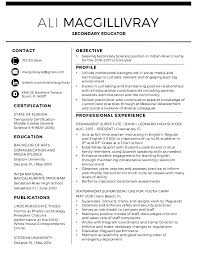 Science Teacher Resume Examples by Ali J Macgillivray Science Teacher Resume