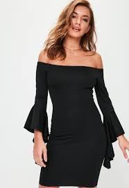 sleeve dress black bardot frill sleeve dress missguided