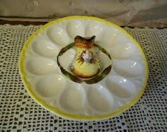 ceramic deviled egg platter vintage deviled egg platter 9 with half egg on leaves in center