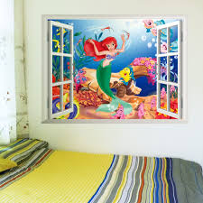 compare prices on fairies wall decals online shopping buy low adornos ariel little mermaid 3d window through wall stickers for kids home decoration baby decorative fairy