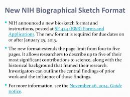new nih biographical sketch format nih announced a new biosketch
