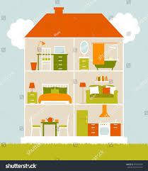 house cut interiors bedroom living room stock vector 395485039