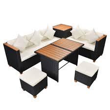 rattan outdoor dining set sofas table stools storage box garden