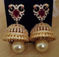 bridal jhumka earrings one gram gold hoop jhumka earrings south india jewels