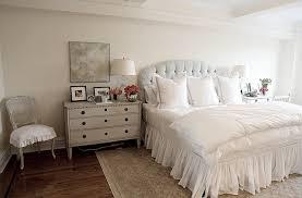 White Ruffle Bed Skirt Gray Nightstand French Bedroom Angie Gren Interiors