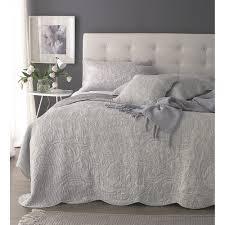 sashi bedlinen windsor grey cotton floral bedspread sashi
