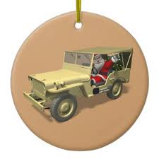 santa claus in willys jeep ornaments variety