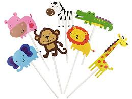 safari cake toppers jungle cupcake toppers safari jungle animals cupcake toppers