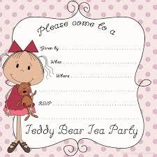 Free Printable Invitation Cards Free Printable Teddy Bear Tea Party Invitation Card With Black
