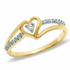 ribbon ring diamond accent solitaire heart ribbon ring in 10k gold size 7