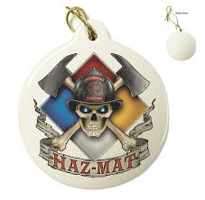 hazmat firefighter porcelain ornament