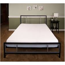 bedroom black grey metal platform bed with white mattress added