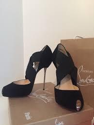 christian louboutin big dorcet black suede stiletto shoes 38