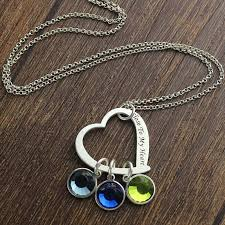 birthstone pendants for personalized jewelry silver heart birthstone necklace to
