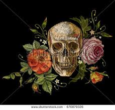 embroidery skull roses dia de muertos stock vector hd royalty free