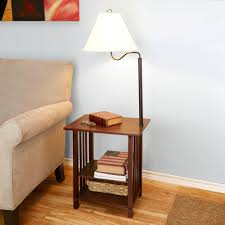 floor lamp table combo with vintage solid mahogany wood farmhouse