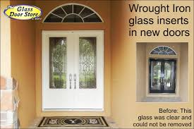fiberglass front doors with glass wrought iron archives the glass door store