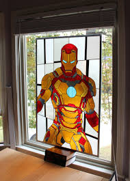 iron man s house iron man in stained glass not going to lie i want this in my