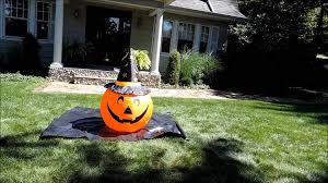 Halloween Inflatable Haunted House by Pumpkin With Witch Hat Halloween Inflatable Youtube