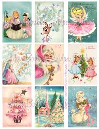 digital christmas cards digital collage sheet of vintage retro kitschy pink and blue