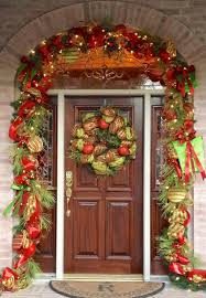 Christmas Decoration For Front Door by Exterior Lovely Front Door Christmas Decor Ideas With Red Ribbon