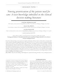 nursing prioritization of the patient need for care a tacit