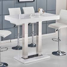 Glass Bar Table Caprice Bar Table In White High Gloss And Stainless Steel Dining