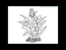 how to draw a beautiful butterfly on the flowers youtube