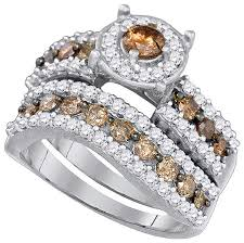 Chocolate Diamond Wedding Ring Set by Cognac Diamond Bridal Sets Jeweler U0027s Cut The Online Source For