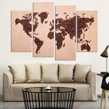 coffee world map four piece set canvasdec
