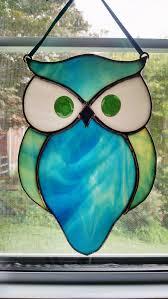 stained glass owl suncatcher bird ornament window decor blue
