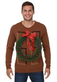 christmas wreath door ugly christmas sweater