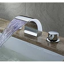 Loose Bathroom Sink Faucet Senlesen Deck Mount Double Handles Led Waterfall Contemporary