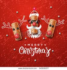 christmas characters santa claus reindeer stock vector
