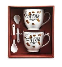 wholesale set of two coffee mugs 0 15 litre and two spoons in a