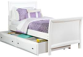 White Sleigh Bed League White 4 Pc Sleigh Bed W Trundle