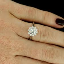 flower halo engagement ring white gold modern center flower halo engagement ring