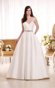 gown wedding dresses uk strapless sweetheart sophisticated ivory satin gown wedding