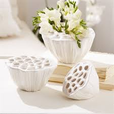 White Decorative Vase Lotus Fruit Decorative Vases In 3 Sizes Elegant Vibe