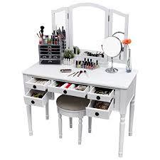 Folding Vanity Table Songmics Vanity Set W Stool And Folding Mirror Make Up Dressing