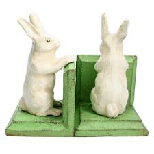 rabbit bookends cast iron bunny bookends sugarboo co