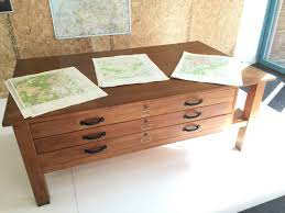 large oak architects flat file map table from dutch university for