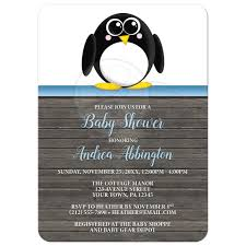 shower invitations cute penguin blue rustic brown wood