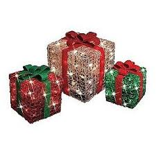 set of 3 icy lighted square presents trim a home