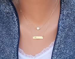 Monogram Pendant Necklace With Initials Personalized Double Layering Tiny Dot Bar Necklace Bar Monogram