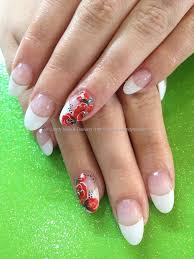 almond white tips with red rose one stroke freehand nail art